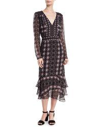 Nanette Lepore - Fortune Teller V-neck Long-sleeve Day Dress - Lyst