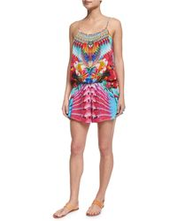 Camilla - Printed Beaded Short Romper Coverup - Lyst