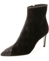 Rene Caovilla - Quilted Velvet Strass Booties - Lyst