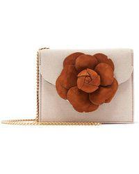 Oscar de la Renta - Tro Mini Canvas Crossbody Bag With Flower - Lyst