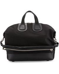 Givenchy Nightingale Canvas & Leather Satchel Bag - Black
