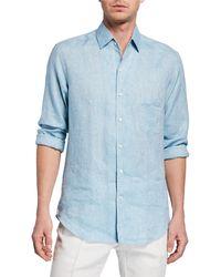 Loro Piana Andrew Long-sleeve Linen Shirt