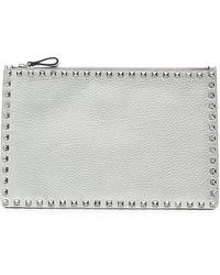 Valentino - Rockstud Large Flat Metallic Clutch Bag - Lyst