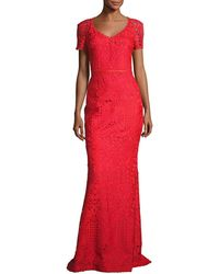 St. John - Embroidered Lace Short-sleeve Gown - Lyst