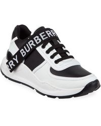 Burberry Ronnie Two-tone Leather Logo Sneakers - Black