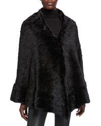 Belle Fare Knitted Mink Fur Cape - Black