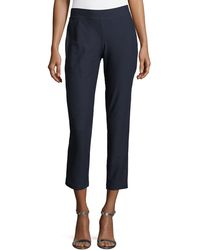 Eileen Fisher - Washable Stretch-crepe Slim Ankle Pants - Lyst