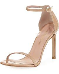 Stuart Weitzman - Nudistsong Patent Ankle-wrap Sandals - Lyst
