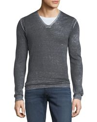 John Varvatos Men's Reverse-seam Sweater - Gray
