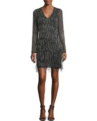 Parker Black | Gia Long-sleeve Beaded Cocktail Dress W/ Feather Trim | Lyst
