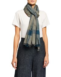 Eileen Fisher Handloomed Organic Cotton Ikat Scarf - Blue