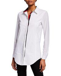 Anatomie - Francine Button-down Jersey Shirt W/ Stripe Trim - Lyst