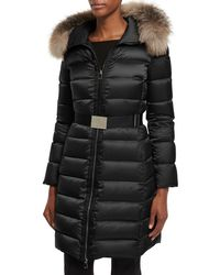 Moncler - Tinuviel Shiny Quilted Puffer Coat W/fur Hood - Lyst
