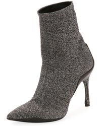 Rene Caovilla - Stretch Metallic Booties With Crystal Heel - Lyst