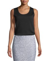 free shipping 82216 66df6 Lyst - Donna Karan Cashmere Easy Sequined Tank in Black