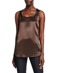 Lafayette 148 New York Perla Luxe Reversible Silk Charmeuse Shell - Brown