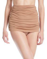 Norma Kamali - Bill Shirred High-waist Skirted Bikini Swim Bottoms - Lyst