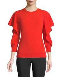 Opening Ceremony - Flounce-sleeve Crewneck Blouse - Lyst