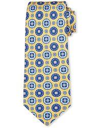 Kiton Men's Circle Medallions Silk Tie - Yellow