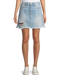 FRAME - Rigid Re-release Le High Frayed Mini Skirt - Lyst