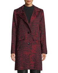 Sofia Cashmere Python-print Wool-blend Car Coat - Red