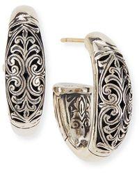 Konstantino - Sterling Silver Etched Hoop Earrings - Lyst