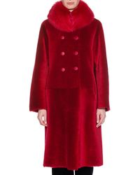 Giorgio Armani - Reversible Double-breasted Lamb Shearling Fur Mid-calf Coat - Lyst