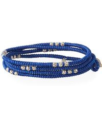 M. Cohen Men's Knotted Wrap Bracelet With Silver Beads, Blue