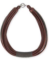 Brunello Cucinelli - Monili Tube Leather Multi-strap Choker - Lyst