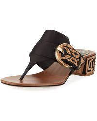 Rene Caovilla - Satin Thong Sandal With Wooden Accents - Lyst