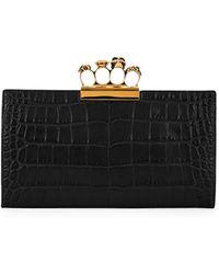 ddd07b94436df Alexander McQueen Knuckle Silky Crocodile-embossed Flat Clutch Bag