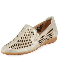 Sesto Meucci Byrna Metallic Perforated Leather Comfort Loafer - White