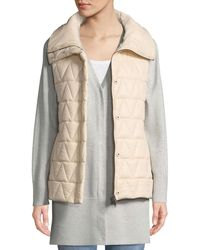 Eileen Fisher - Chevron Quilted Snap-front Vest - Lyst
