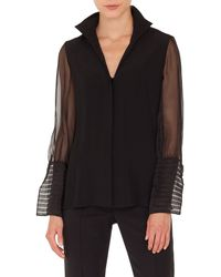 Akris - Eve Pleated-cuff Button-front Silk Organza Blouse - Lyst