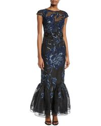 David Meister - Cap-sleeve Embroidered Tulip-hem Gown - Lyst