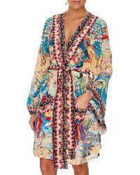 Camilla Miso In Love Silk Kimono Coverup With Tie Belt - Multicolor