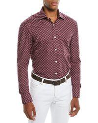 Kiton - Men's Geometric-print Cotton Sport Shirt - Lyst
