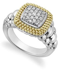 Lagos 18k Gold And Sterling Silver Diamond Lux Square Ring - Metallic