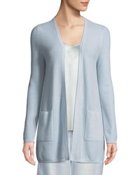 Neiman Marcus - Cashmere Waffle-knit Open-front Cardigan - Lyst