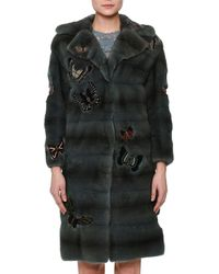 Valentino - Fur Coat W/japanese Butterfly Appliqué - Lyst