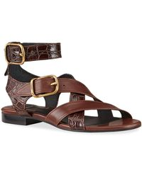 Chloé Daisy Mixed Leather Strappy Sandals - Brown