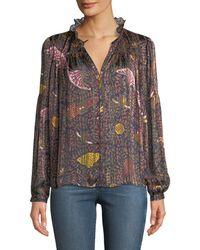 Ba&sh - Danila Long-sleeve Printed Ruffle Blouse - Lyst