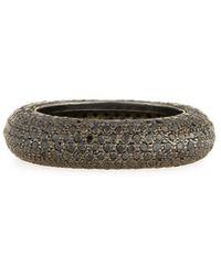 Sheryl Lowe Black Rhodium-plated Ring With Black Diamonds, Size 7