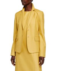 Lafayette 148 New York Thatcher Studio Weave Two-button Blazer - Yellow