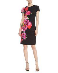 David Meister | Asymmetric Floral Short-sleeve Sheath Dress | Lyst