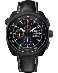 Tockr Watches - Air Defender Leather Chronograph Watch - Lyst