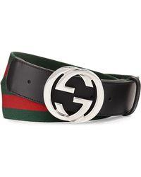9043a3385f11a Lyst - Gucci Interlocking G Buckle Belt in Black for Men