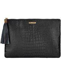 Gigi New York Uber Python-embossed Leather Clutch Bag - Black