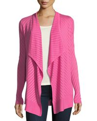 Neiman Marcus - Vertical-striped Draped Cashmere Cardigan - Lyst