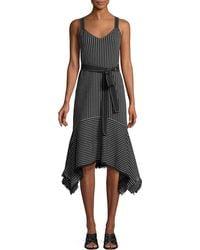 10 Crosby Derek Lam - Striped V-neck Cami Dress - Lyst